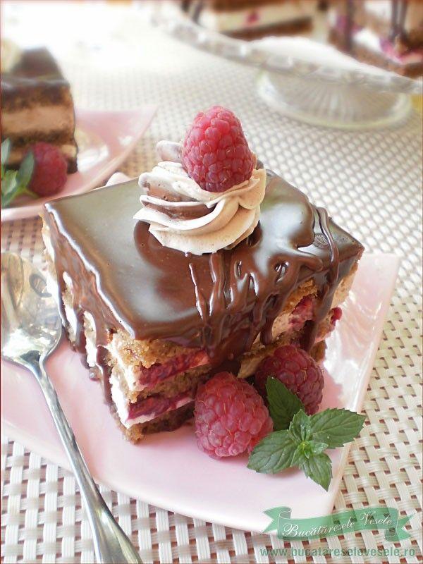 Prajitura cu ciocolata si zmeura.Reteta prajitura cu ciocolata si zmeura.Prajitura cu foi si crema de ciocolata cu zmeura