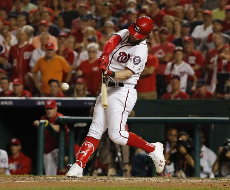 October 7, 2017:  Harper, Zimmerman HRs lift Nats past Cubs 6-3 to even NLDS   -  Washington Nationals Bryce Harper hits a two-run home run off Chicago Cubs relief pitcher Carl Edwards Jr. to tie the game in the eighth inning in Game 2 of baseball's National League Division Series a, at Nationals Park, Saturday, Oct. 7, 2017, in Washington. Photo: Pablo Martinez Monsivais, AP / Copyright 2017 The Associated Press. All rights reserved.