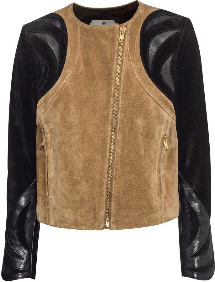 H&M - Suede Jacket - Black/Beige - Ladies - Biker Jacket with Suede/Leather detail at sleeves.