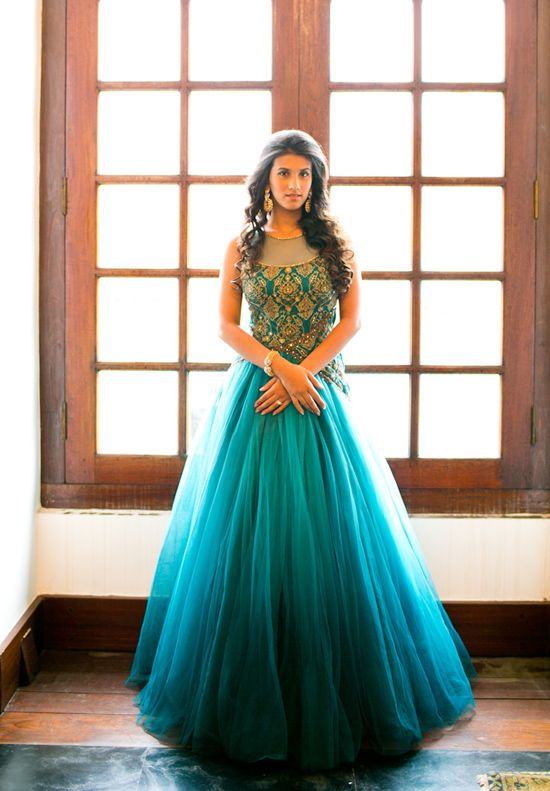 Beautiful turquoise bridal Anarkali