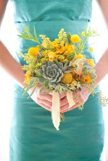 As you plan your wedding flowers, don't be afraid to have some fun with your bridal bouquet and bridesmaid bouquets! Simple bouquets can benefit greatly from a little variety - like adding cut succulents, craspedia and a mixture of fresh cut greens including solidago and seeded eucalyptus.: Yellow Flowers, Idea, Bridal Bouquets, Yellow Bridesmaid Bouquets, Color Schemes, Color Combos, Aqua Inspiration, Aqua Dresses, Succulent Bouquets
