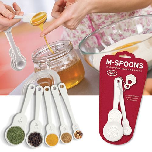 Matryoshka measuring spoons!  M-Spoons are based on traditional Russian folk art. By any measure, they're really cute! But nobody succeeds on charm alone, so we also made them nesting, accurate, easy to clean and simple to hang. It's the kitchen accessory you'll be rushin' to use!