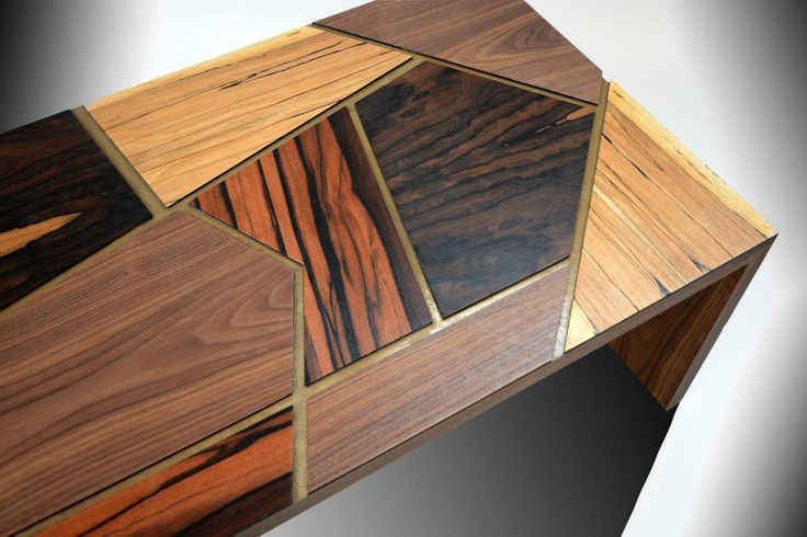 """La Città"" - A coffee table formed by 4 type of veneers: Macassar Ebony, Ziricote, Spalted Beech & American Walnut. By Roi Klifi"