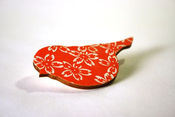 Orange Bird Brooch Eco Friendly Laser Cut Wood by HexagonInc, $12.00