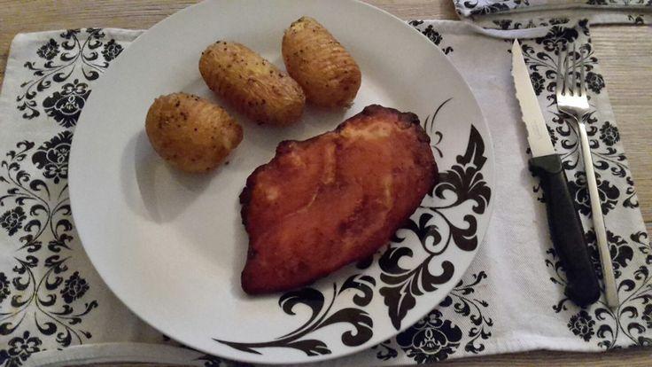 kip met geroosterde aardappelen