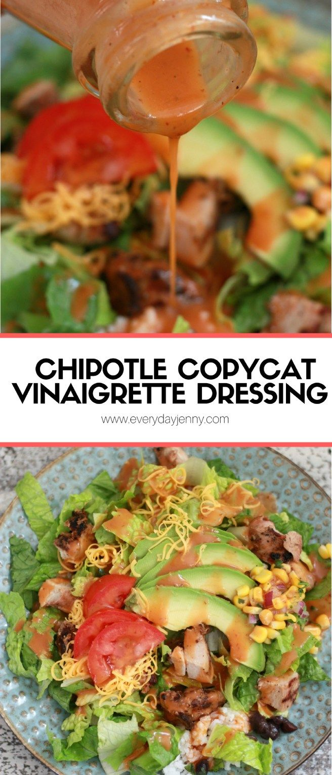 This Chipotle copycat vinaigrette dressing recipe is so easy to blend up. Sweet and smoky made with delicious honey and chipotle peppers. Recipe at everydayjenny.com