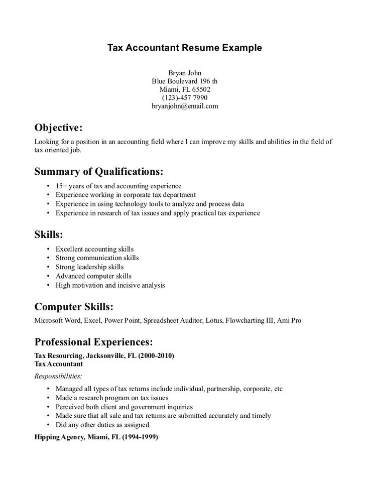 11 best Resume sample images on Pinterest Job resume, Resume and - accountant resume format