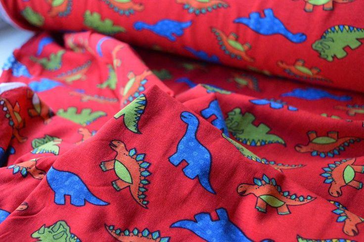 Red Dinosaur Print Children's Cotton Jersey Dress Fabric