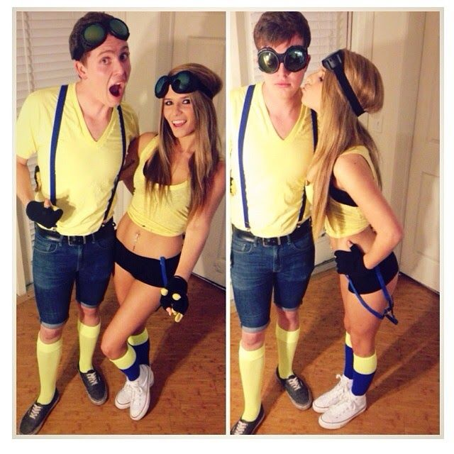 find some blue bottoms and yellow shirts and throw on some goggles and you easy couples costumescouple - Mens Couple Halloween Costumes