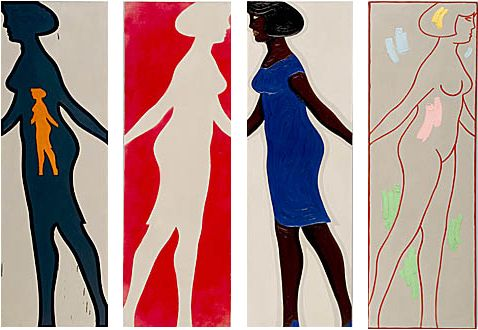 """Four Grey Panels and Four Figures from the series """"Walking Woman"""", (1963)  Michael Snow"""