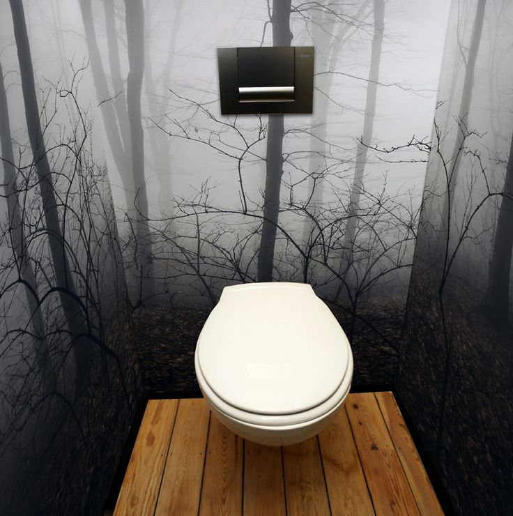 Spooky misty forest wall mural vinyl pixers we live for Bathroom wall mural