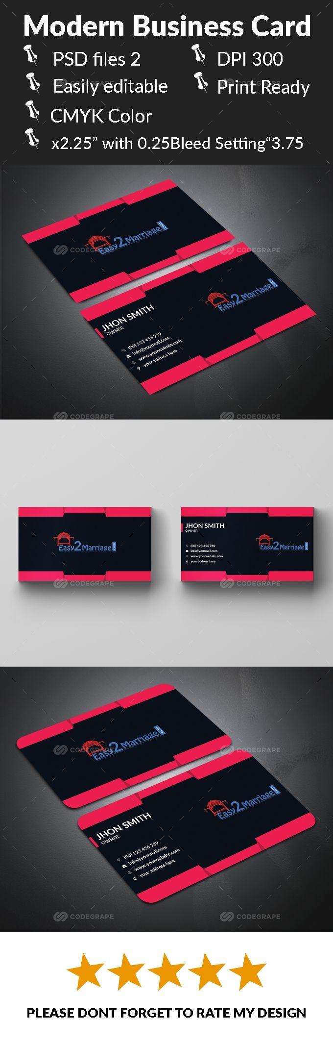 Modern Business Card Modern Business Cards Business Card Design Card Design
