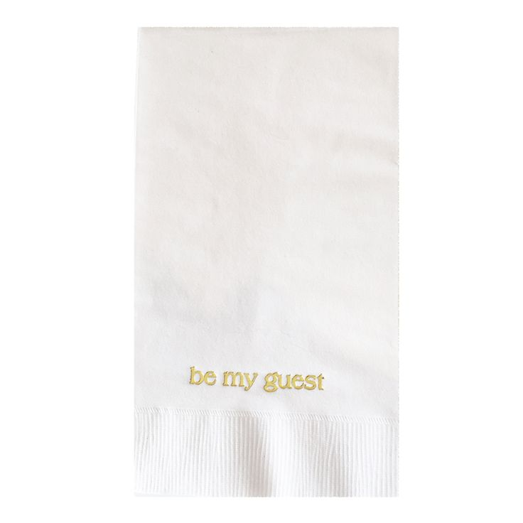 Make your holiday guests feel at home with these exclusive 'Be My Guest'  disposable hand towels. 20 ct. white hand towel with gold leaf type.