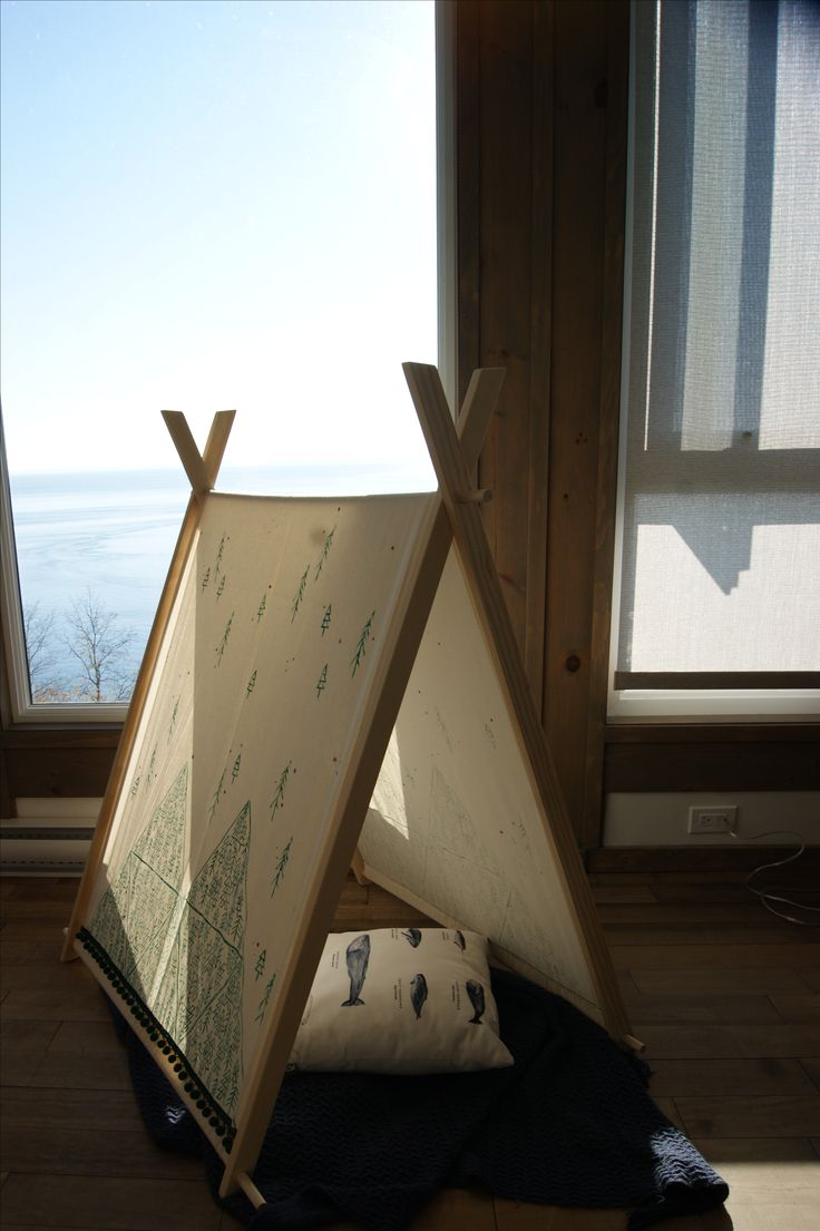 Small minimalist tent reminiscent of beautiful landscapes of mountains and snow-covered forests found in Quebec. ___________________________________________________ tipi / teepee / kids play tent / hideaway / hiding place / shelter / kids game / playroom / kids room / nursery / wild / nature / forest / mountains / snow