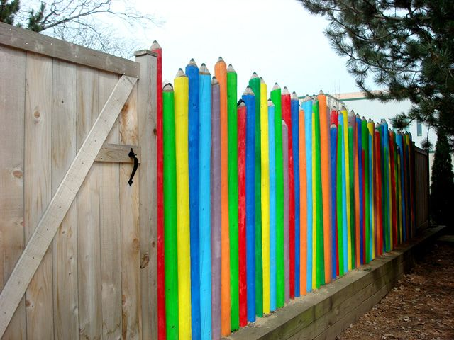 daycare fence: Gardens Fence, Fence Ideas, Floral Design, Future Daycares, Color Pencil, Kids Plays Spaces, Pencil Fence, Daycares Fence, Daycares Ideas