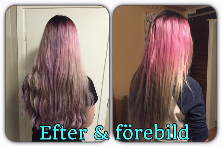 After and before. Purple/pink/gray hair, by me