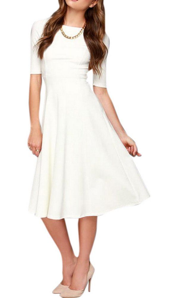 Enlishop women Sleeve Shift Fit Flare Evening Party Knee Length Dress S White - Use ffor Bride of Frankenstein costume at work (and reuse dress after).