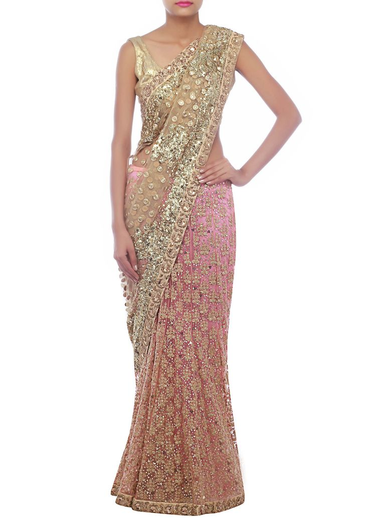 beautiful rose pink & gold #Saree at http://www.KalkiFashion.com/ ~