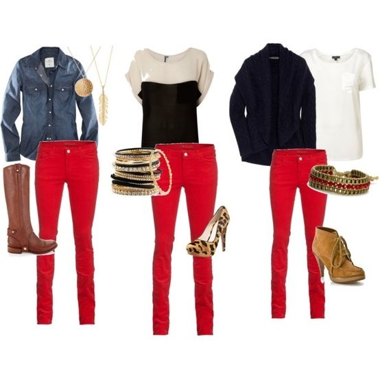 Have worn similar combo's...love my red pants