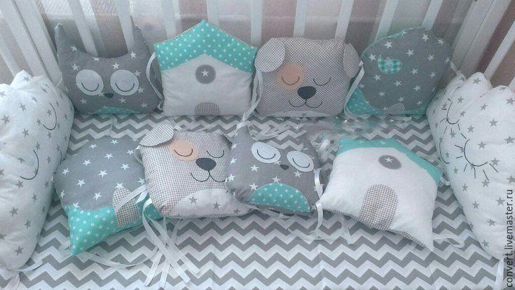 Купить Бортики в кроватку, бортики для новорожденного Домики и Зверята - комбинированный, бортики в кроватку, бортики для кроватки