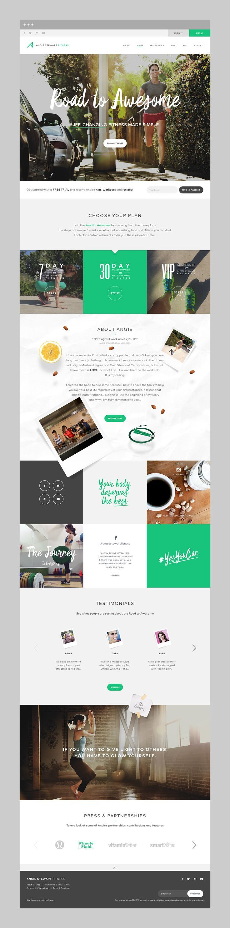 Road to awesome website design from StudioMH for Angie Stewart Fitness