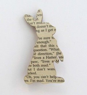 brooch made from vintage 'alice in wonderland' book :)