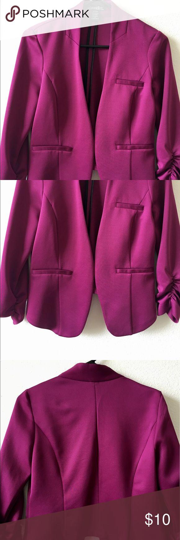 Purple Blazer Brand: Stooshy, Color: Purple, Size: Medium, Short Blazer, 3/4 ruched sleeve, No buttons, No Pockets, No zippers, No inside linning. No stains, No tears, No damage. Jackets & Coats Blazers