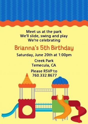 Playground - Birthday Party Invitations (Matching invites for Slade's party)