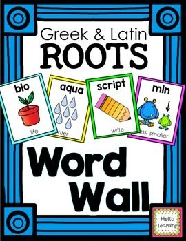Greek and Latin roots WORD WALL cards- 89 colorful word root cards and A-Z word wall header cards. $