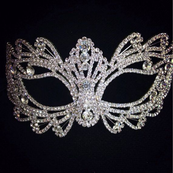"Rhinestone crystal  masquerade mask base-party mask DIY deco mask -face mask -Halloween mask -cake topper -table setting 7"" x 3.5"" on Etsy, $32.00"