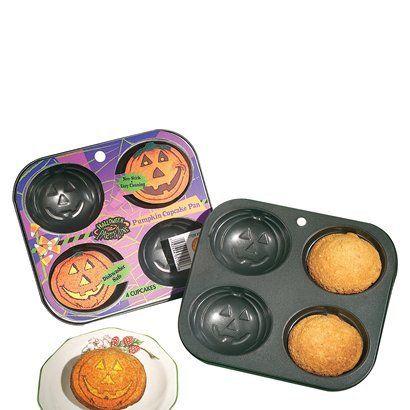 Pumpkin Cupcake Pan. Just add batter, bake, and flip over. Perfect pumpkin cupcakes. #Halloween
