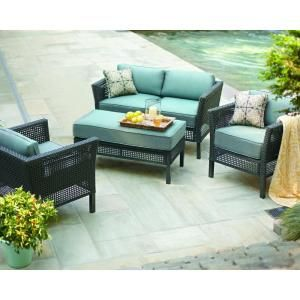 Hampton Bay Fenton 4-Piece Patio Seating Set with Peacock and Java Cushions-D9131-4PCKD at The Home Depot