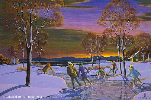 Rémi Clark, 'Sur le ruisseau gelé', 24'' x 36''   Galerie d'art - Au P'tit Bonheur - Art Gallery