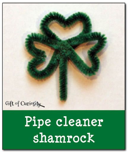 A simple tutorial for making a pipe cleaner shamrock. #StPatricksDay #finemotor || Gift of Curiosity
