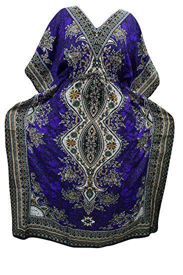 Womens Evening Caftan Dashiki Print Purple Maxi Dress Boho Cover Up Kaftan XXL