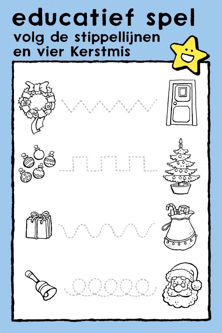 Volg De Stippellijnen En Vier Kerstmis Kiddikleurplaten Kiddikleurplaten Kerstmis Educatieve Spellen Kleurplaten