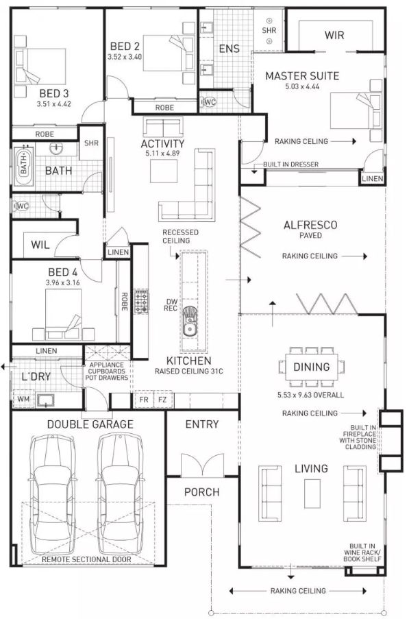 G'day G'day! How are you? Today I went searching for a floor plan with a built-in fireplace (seeing as it's getting cold around here!). I found this 4 bedroom family home with a few other cool features. I like the overall layout of the home with the kitchen/dining opening on to the alfresco. That would