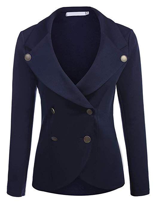 ELESOL Women´s Autumn Oversize Slim Fit Suit Coat Jacket Blazer Outwear  Dark Blue S a81c0f124d