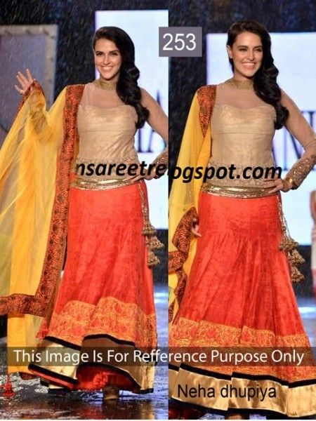 Neha Dhupia In Beautiful Orange And Yellow Velvet Lehenga by Vendorvilla.com