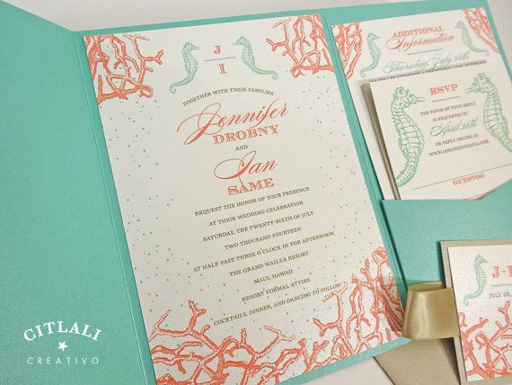 Beach Aqua Pocket Wedding Invitations featuring Seahorse & Coral Reef design - perfect for Destination Wedding - by citlalicreativo.com - Made to order & ship to you anywhere!
