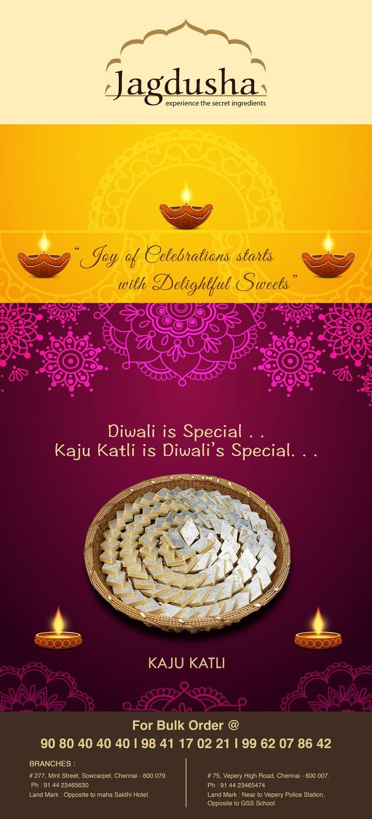 Enjoy the True taste of Kaju katli with Jagdusha Sweets & Savories. . .It's time to taste and celebrate the happiness..