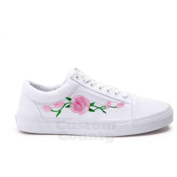White Vans Old Skool Custom Pink Rose Embroidered Shoes-Vans Rose... ($88) ❤ liked on Polyvore featuring men's fashion, men's shoes, mens floral print shoes, mens floral shoes, mens embroidered shoes, vans mens shoes and mens white shoes