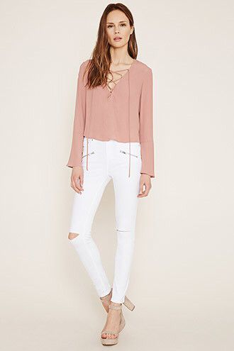Knee Cut Out Zip Pocket Skinny Jeans from Forever 21 R199,00