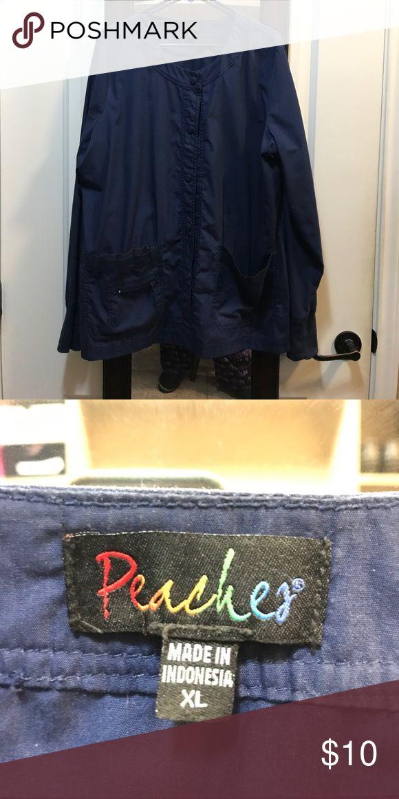 Peaches scrub jacket Peaches XL navy scrub jacket peaches Jackets & Coats