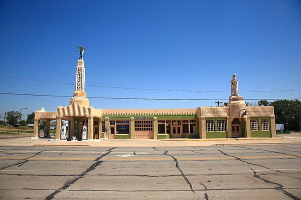 "Route 66 - Conoco Tower Station, Shamrock, Texas. Art Deco on Rt. 66. ""The Fine Art Photography of Frank Romeo."""