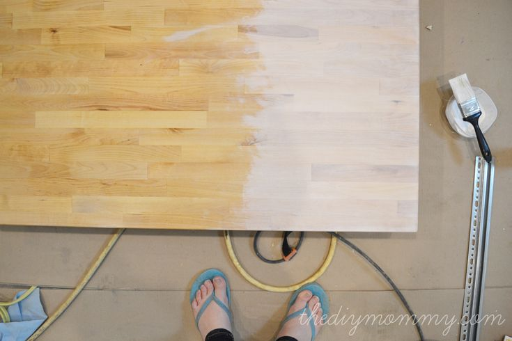 Whitewash and Seal a Butcher Block Counter Top in 2020