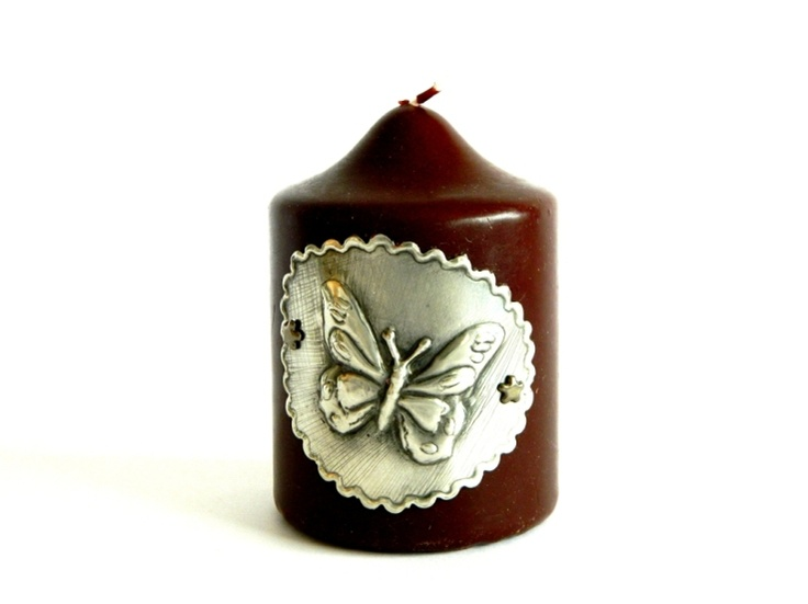 Candle Sleeve Pewter Embossed Butterfly motif