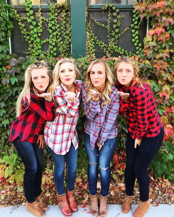 Fall friend photos #plaid #flannel #booties #fashion