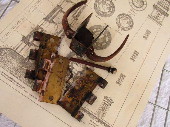Vintage Door Latch/Brass Hinges/Rusty Metal by VintagebytheBelles
