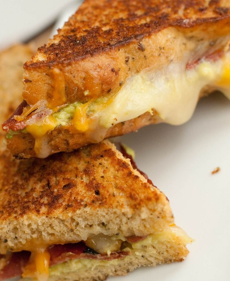 bacon avocado grilled cheese on sun-dried tomato basil bread